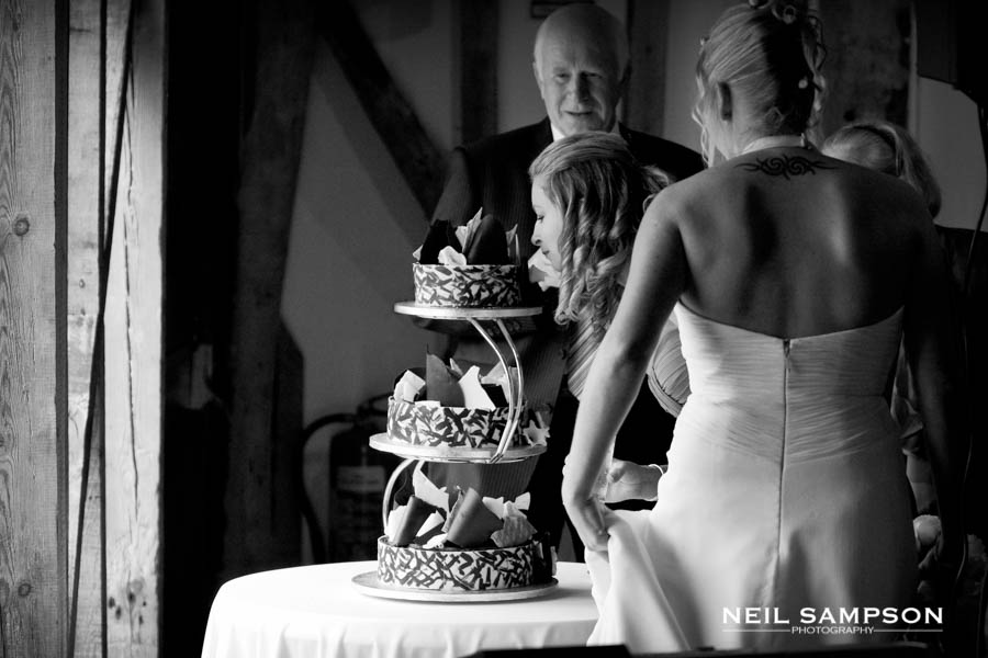 The bride and bridesmaid inspect the wedding cake