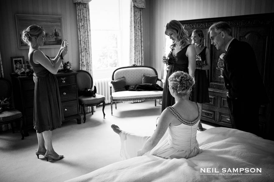 The bride and her bridesmaids are all ready for the wedding at Micklefield Hall