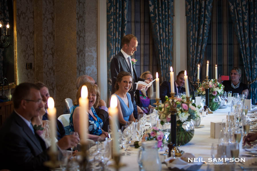 The groom gives his speech at the Petersham Hotel in Richmond Surrey