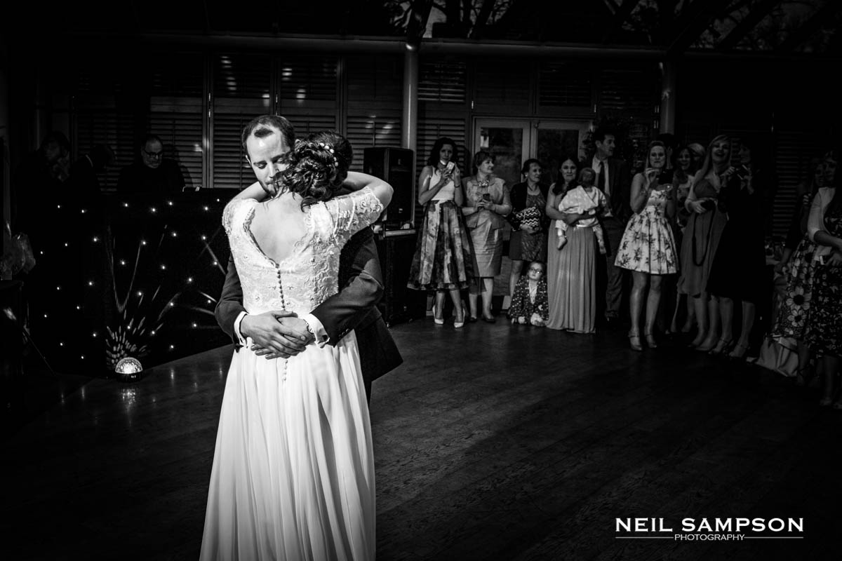 The bride and groom during the first dance at Latimer Place