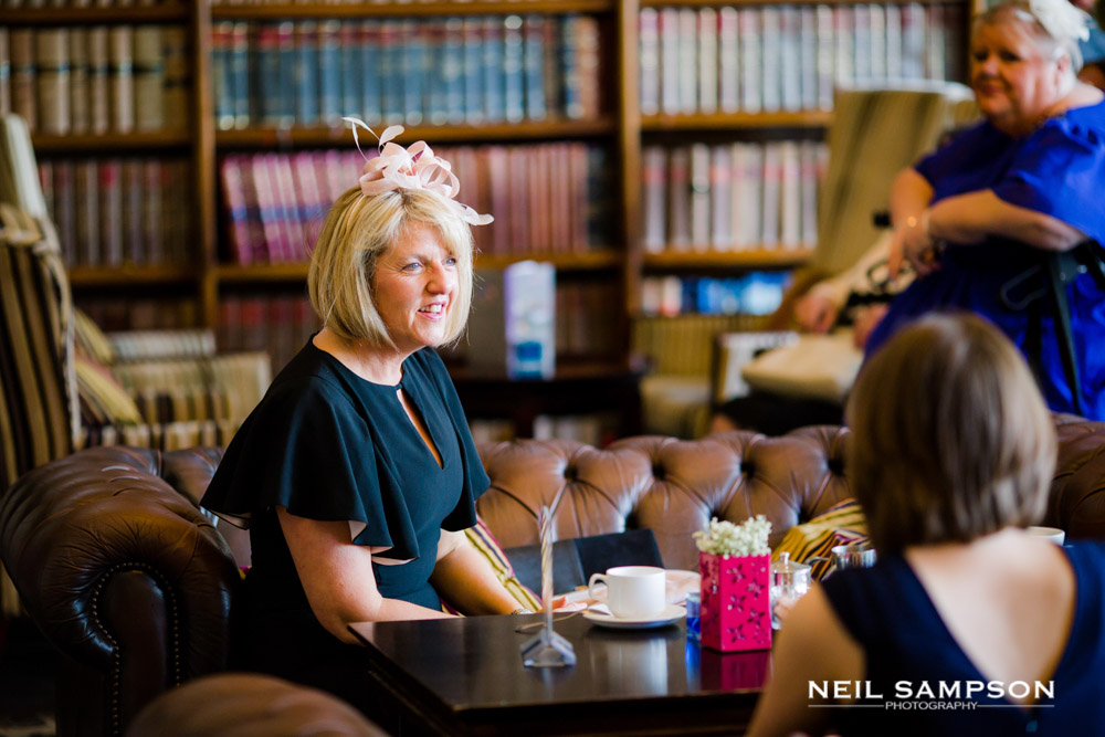 A guest enjoys a coffee before the ceremony