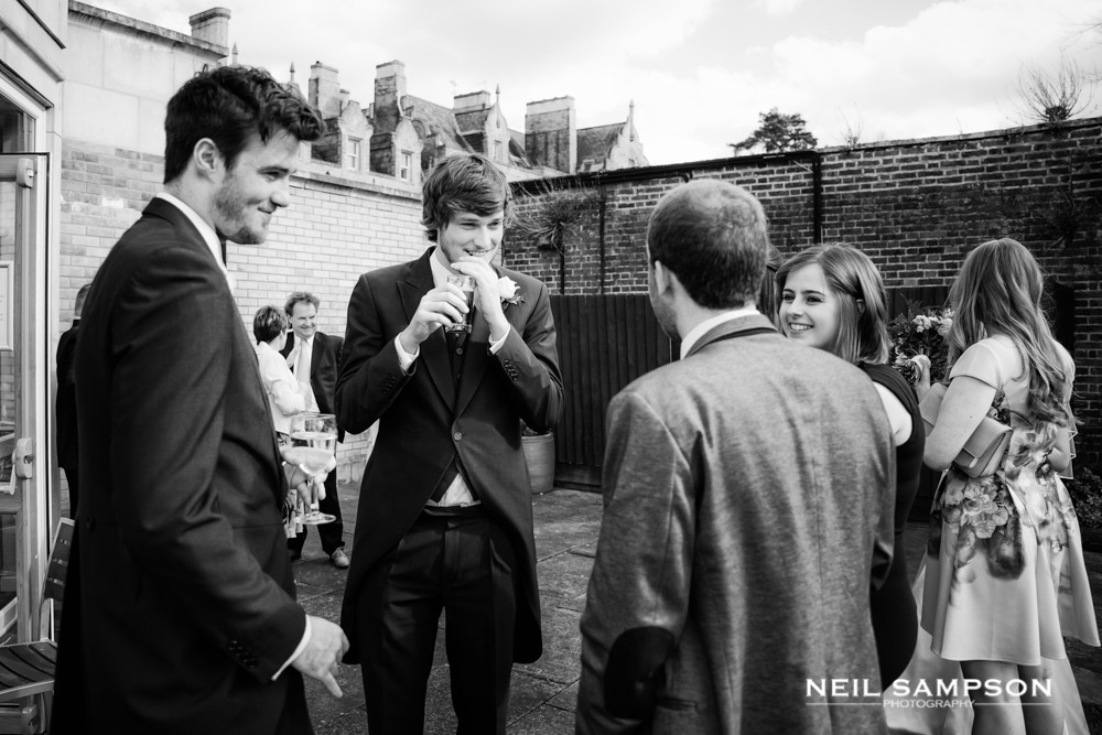 Guests chatting in the walled garden at Shendish Manor