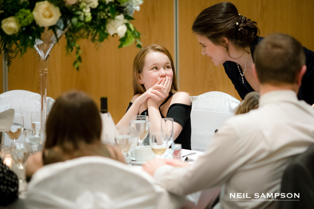 A mother and daughter at a wedding reception