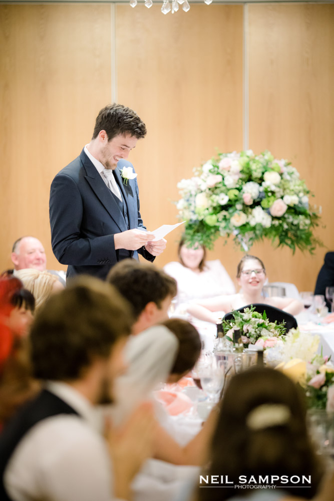 The best man delivers his speech at Shendish Manor hotel