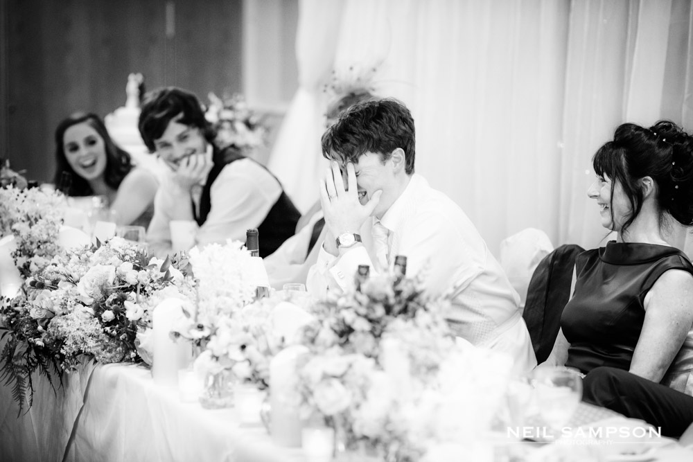 The groom is humiliated by the best man during the speeches