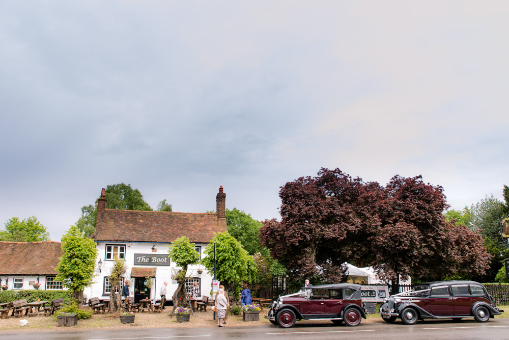 Wedding cars outside the boot in Sarratt near watford