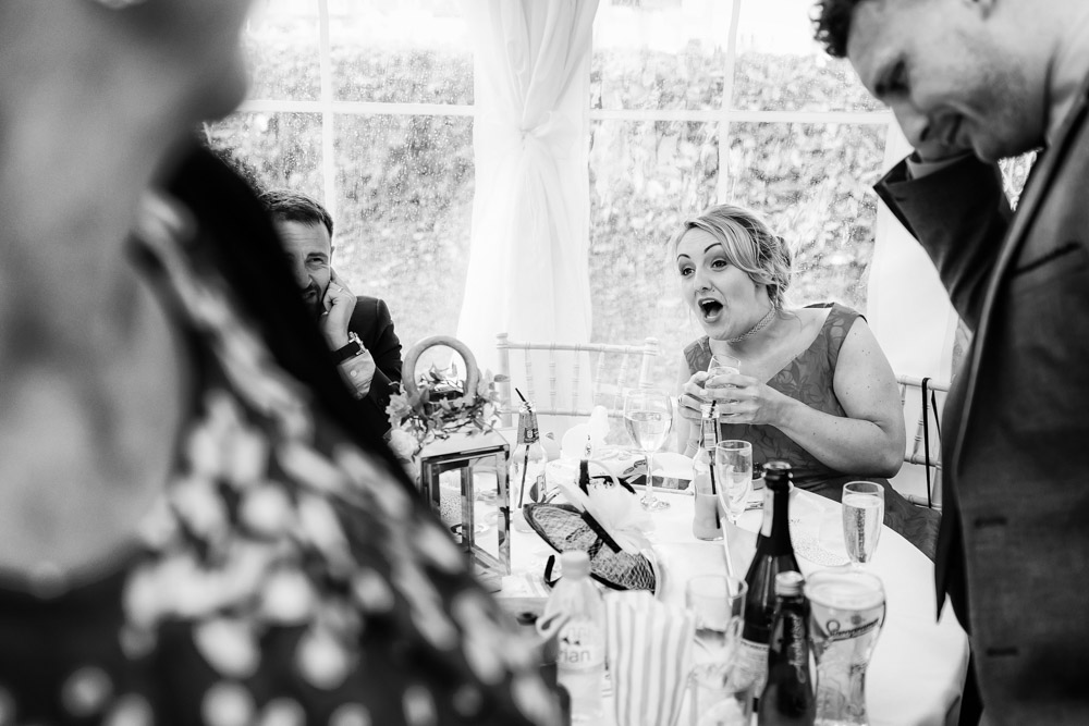 Laughter at a wedding reception