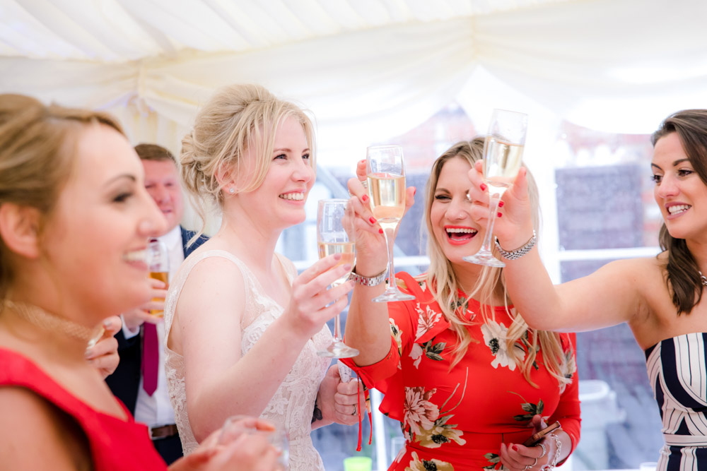 The bride and guests raise their glasses during speeches